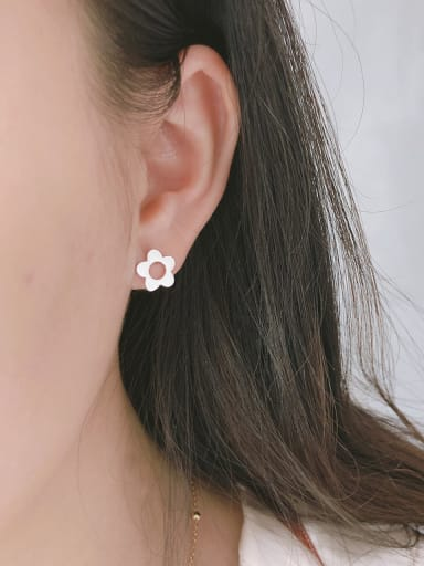 925 Sterling Silver With Platinum Plated Simplistic Hollow Flower Stud Earrings