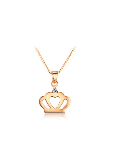 Women All-match Rose Gold Crown Shaped Necklace