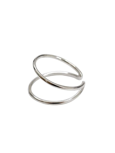 Simple Two-band Smooth Silver Opening Ring