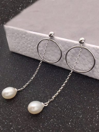 Freshwater Pearl Hollow Round Drop threader earring