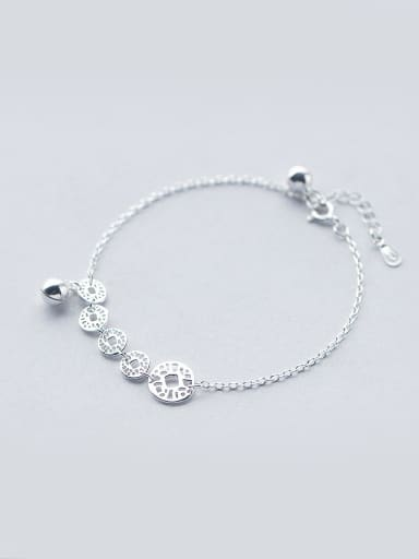 S925 Silver Vintage Copper Coin Bell Fashionable and Sweet Bracelet