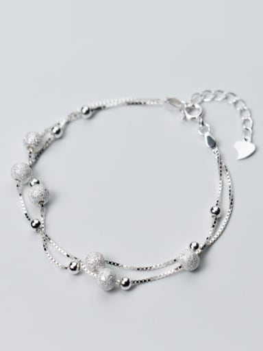 S925 silver matte smooth balls fashion double chain bracelet