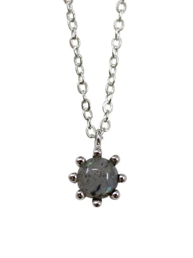 Fashion Little Round Grey Stone Pendant Silver Necklace