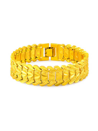 Exquisite 18K Gold Plated Geometric Shaped Copper Bracelet