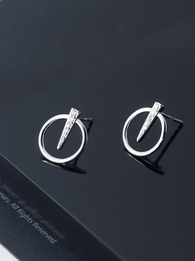 925 Sterling Silver With Silver Plated Simplistic Geometric Circular Triangular Stud Earrings