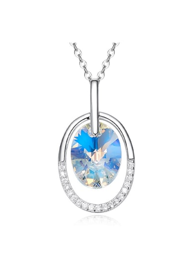 Fashion Swarovski Crystal 925 Silver Oval Pendant