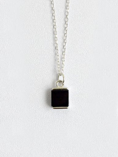 Simple Black Square Carnelian stone Silver Necklace