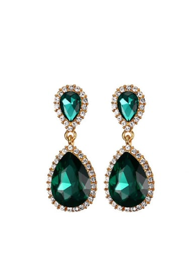 Green Water Drop Shaped Shimmering Rhinestone Drop Earrings