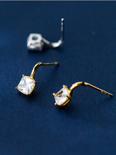 925 Sterling Silver With Cubic Zirconia Delicate Geometric Stud Earrings