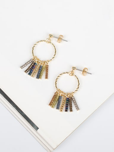 Women Exquisite Round Shaped Tassels Earrings