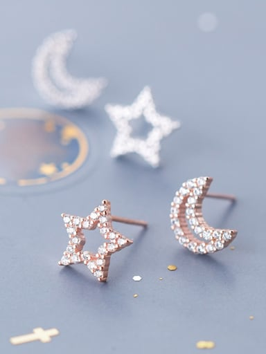925 Sterling Silver With Silver Plated Simplistic Asymmetric Stars Moon Stud Earrings