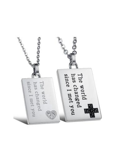 Fashion Rectangular Pendant Titanium Lovers Necklace