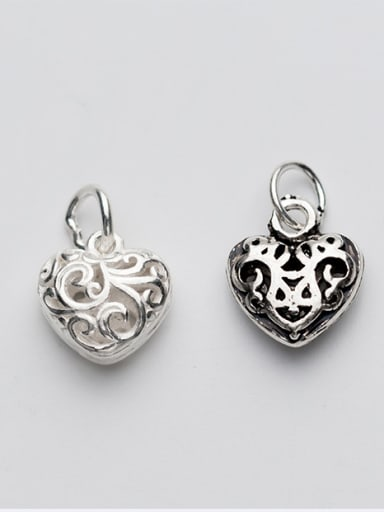 925 Sterling Silver With Antique Silver Plated Personality Heart Charms