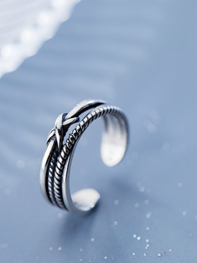 925 Sterling Silver With Antique Silver Plated Vintage Bowknot Rings