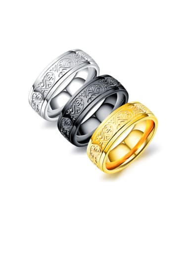Titanium With  Fashion Retro  Pattern Mens Band Rings