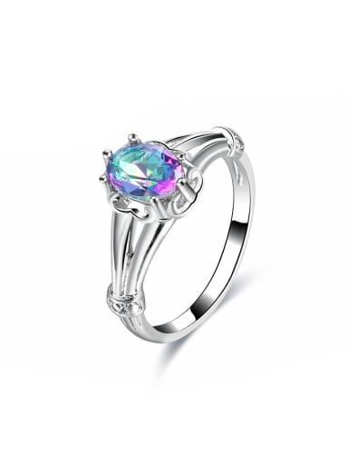 Exquisite Multi-color Glass Bead Platinum Plated Ring