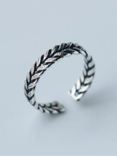 S925 Silver fashion weaving shape opening Midi Ring