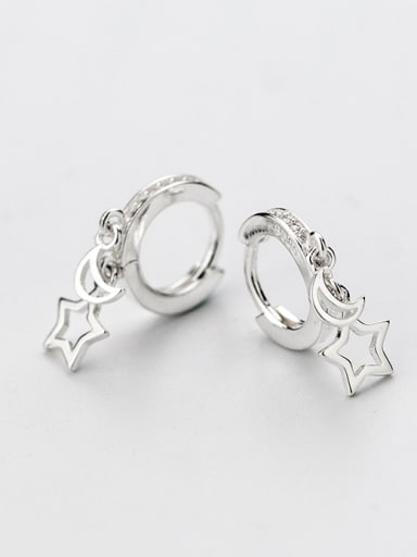 Fresh Moon And Star Shaped S925 Silver Clip Earrings