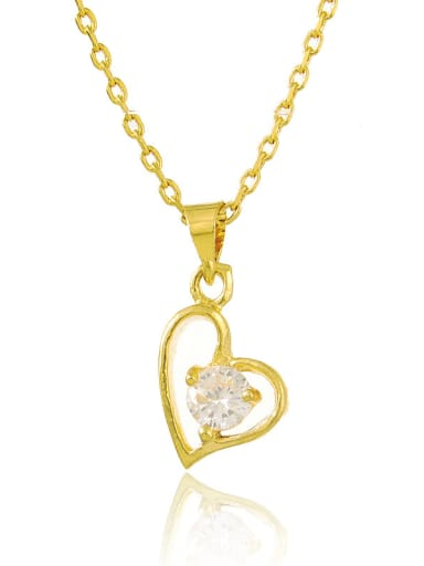 Exquisite 24K Gold Plated Heart Shaped Rhinestone Necklace