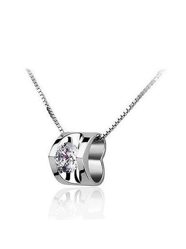Simple Cubic White Zircon Little Pendant Copper Necklace