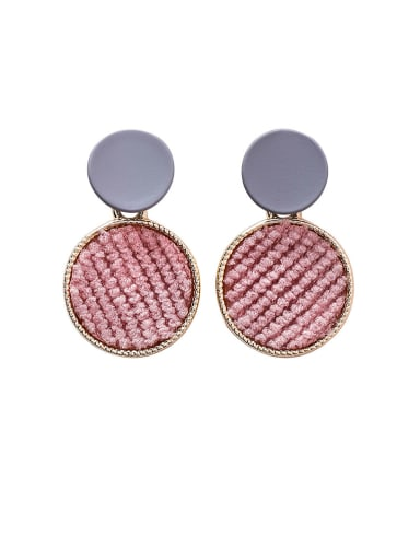 Alloy With Gold Plated Simplistic Colored Plush Round Drop Earrings