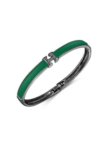 All-match Black Gun Plated H Shaped Acrylic Bangle