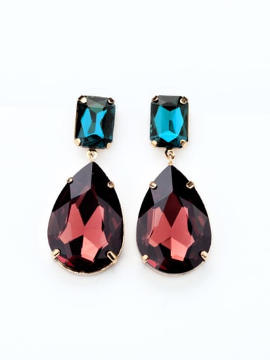Artificial Stones Water Drops Alloy drop earring
