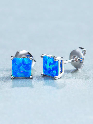 Square Opal Stone stud Earring