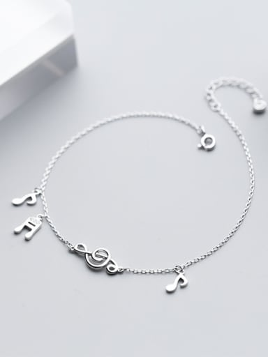 925 Sterling Silver With Platinum Plated Cute Note Anklets