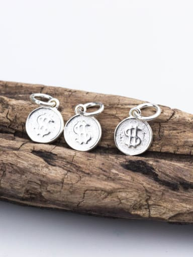 925 Sterling Silver With Silver Plated Fashion Monogrammed Dollar symbol Charms