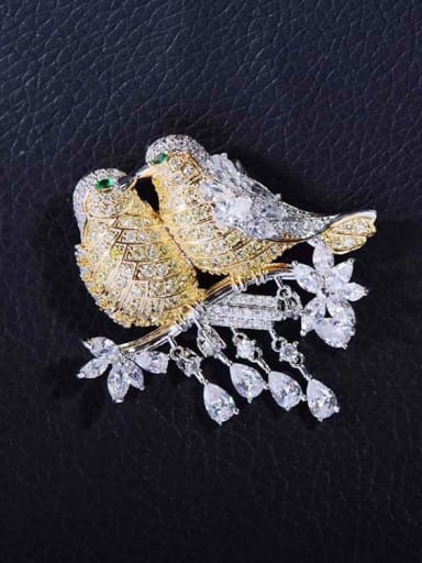 Copper With  Cubic Zirconia Personality Bird Magpie Brooches