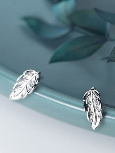 925 Sterling Silver With Champagne Gold Plated Simplistic Leaf Stud Earrings