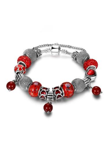 Exquisite Red Glass Stone Beaded Bracelet