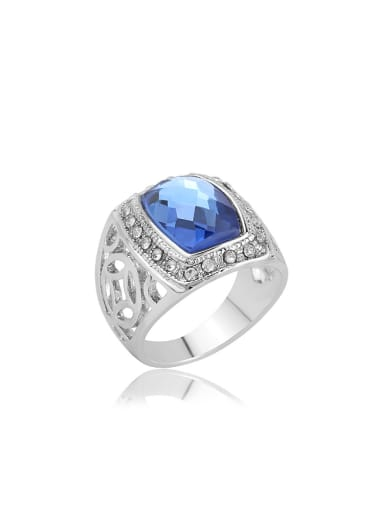 Fashion Blue Glass stone Silver Plated Hollow Ring