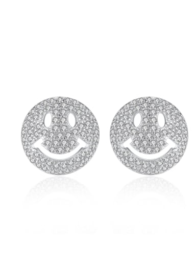 Copper With 3A cubic zirconia Cute Face Stud Earrings