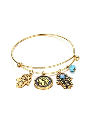 Exquisite Palm Shaped Gold Plated Turquoise Bangle