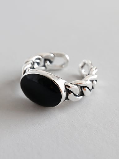 Sterling Silver Vintage Personality Black Resin Free Size Ring