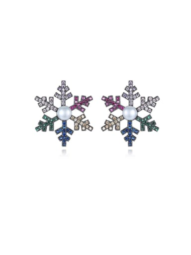 Copper With Gun Plated Delicate Snowflake Stud Earrings