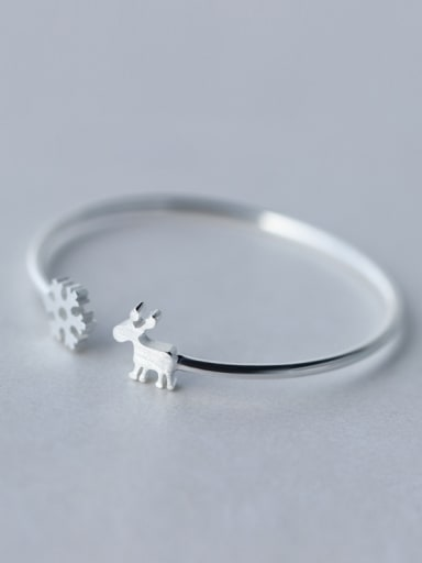 925 Sterling Silver With Platinum Plated Cute Snowflake Elk Bangle Free Size Bangles