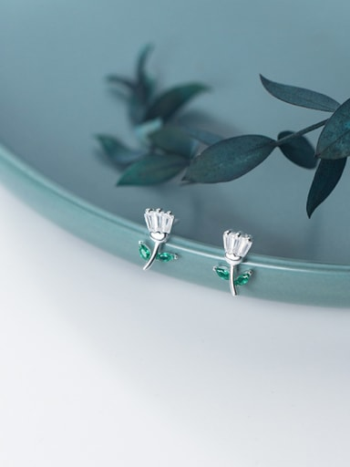 925 Sterling Silver With Silver Plated Simplistic Flower Stud Earrings
