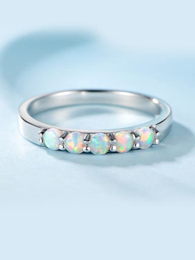 Platinum Plated Opal Stone Ring