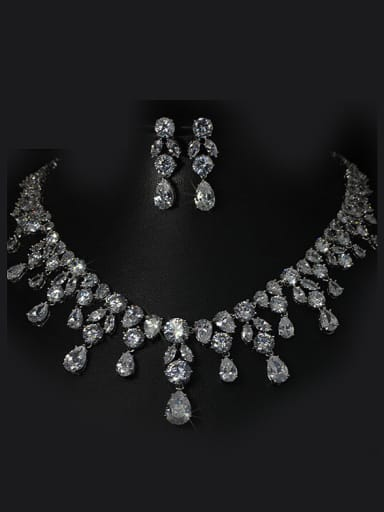 Shining Wedding Accessories Two Pieces Jewelry Set