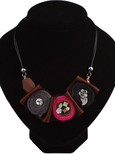 Retro style Cloth Flowers Artificial Leather Chain Necklace