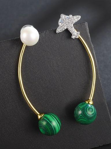 New long aircraft Shell-beads malachite color-matching earrings