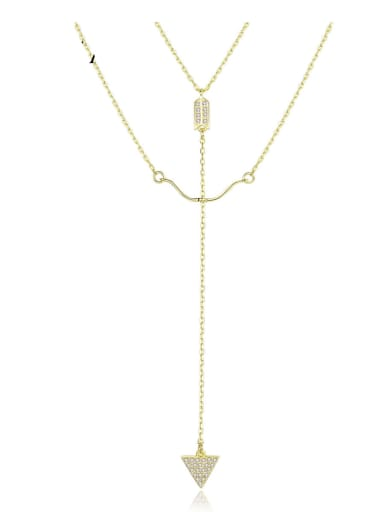925 Sterling Silver With  Cubic Zirconia Simplistic Bow and arrow Hook Multi Strand Necklaces