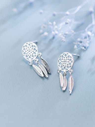S925 silver earrings simple dream catcher tassel short earrings