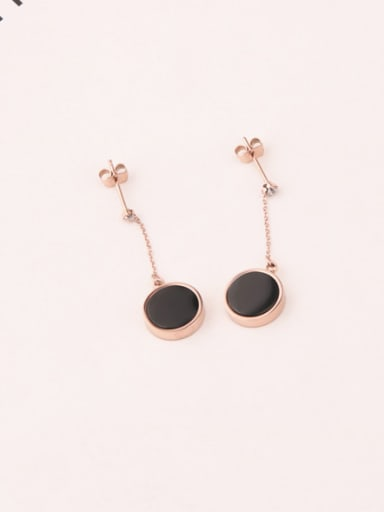 Simple Style Round Black Agate Drop Earrings