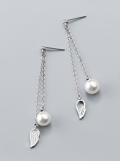 Women Elegant Feather Shaped Pearl S925 Silver Drop Earrings