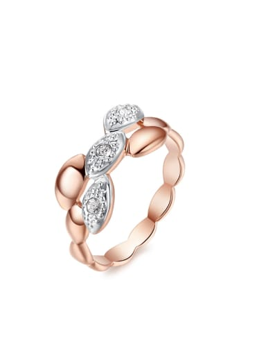 Simple Style Hollow Rose Gold Plated Women Ring
