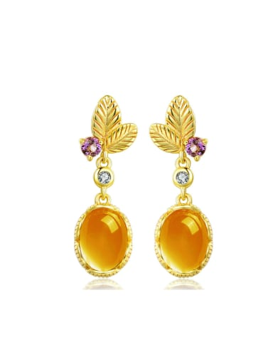 Egg-shape Natural Yellow Crystal 14k Gold Plated Drop Earrings